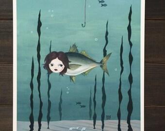 "8x10 fine art print, ""The Mermaid of Briny Bay"" giclee mermaid print, aquatic, nautical, lowbrow pop surrealism, fish, seaside, kitschy"