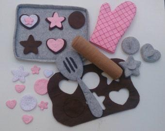 Play food felt chocolate sugar cookie baking set