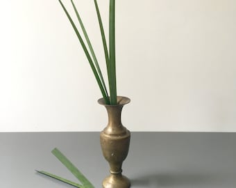 vintage etched brass bud vase patina boho decor