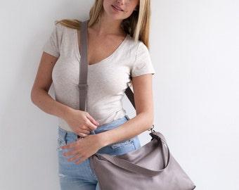 HUGE SALE - Soft Leather Hobo Bag, Grey Leather Bag, Leather Crossbody Bag, Hobo Handbag, Crossbody Bag Leather, Hobo Bag, Leather Handbag