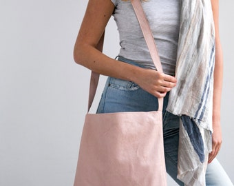 Leather Tote, Suede Leather Tote Shoulder Bag, Blush Pink Leather Bag, Soft Leather, Magnet Closer, Lightweight Crossbody Bag, Carry Bag