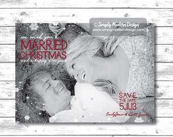 save the date christmas card, married christmas, marry christmas, snowflakes, holiday card, wedding, invitation, PRINTABLE or PRINTED CARDS