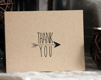 Thank You Cards With Arrow // Boho Thank You Card Set of 20 // Thank You Note // Blank Cards // Rustic Wedding Thank You Cards // Stationary