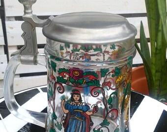 Vintage Rein Zinn Heavy Glass Lidded German Beer Stein-Germany