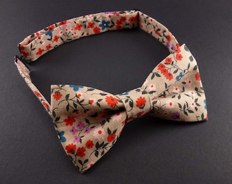 Pink floral bow tie – mens or womens – pre tied adjustable bowtie – multicolor flower print – dapper style