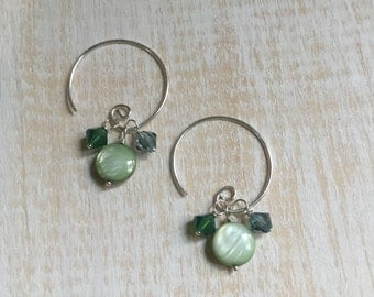 """Interchangeable Earring Set - Mother-of-Pearl and Swarovski Crystals in Shades of Blue and Green on Sterling Silver Open Hoops - """"Lakeside"""""""