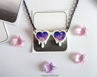 White Melting Galaxy Heart Glasses Necklace