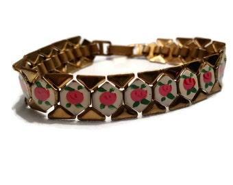 Vintage etched leaf hinged bangle bracelet two by thefashionden