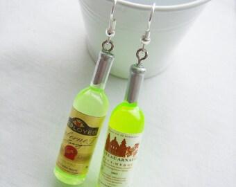 Wine plastic bottle earrings - wine bottle charm earrings - green wine jewelry - mini green wine bottle jewelry - festive wine gift