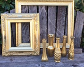 Gold Decor, Set of 7, 16x20 gold frame, 8x10 gold frame, Gold vases,  Baroque, Ornate Frame, Wedding Decor (Los Angeles)