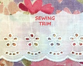 4 YARDS, CREAM Cotton, Flat Edging Sewing Trim, Embroidered Scallops, 5 Round Eyelets, 2-1/8 Inch Wide, L92