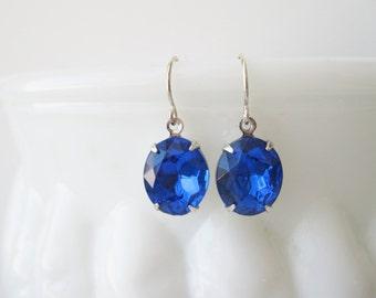 Sapphire Blue Drop Earrings, Vintage Rhinestones, Old Hollywood, Bridesmaid Earrings, Silver Plated, Blue Wedding Jewellery