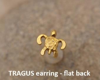 Tragus earring, SEA TURTLE, Bioflex tragus earring, tragus 16G, tragus BioFlex, tragus piercing, labret,tragus flat back, stud earring,*