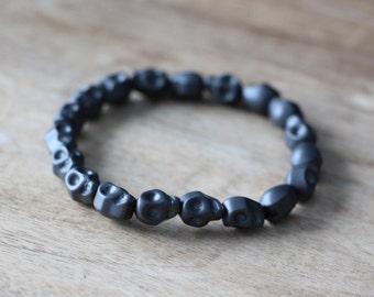 Grey Skull Stone Bead Man Bracelet