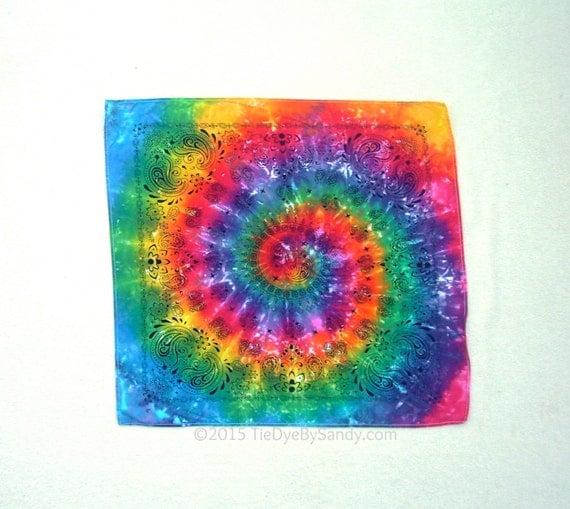 rainbow tie dye bandana with paisley detail