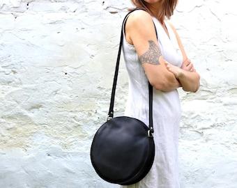 Black leather circle bag,round bag,leather crossbody bag,circle bag,cross body bag,black leather bag,leather shoulder bag, FREE SHIPPING