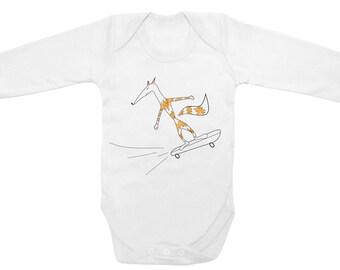 Skateboard babygrow, baby skater, hipster fox, fox baby bodysuit, unisex baby clothes
