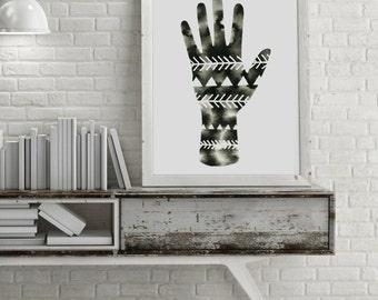 Hand Watercolor Painting Geometric Palm Art Original Hand Artwork Minimalist Modern Triangle Hands Painting Scandinavian Black and White Art