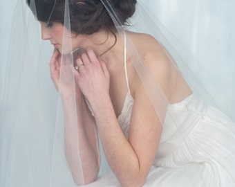 English Tulle Cathedral Veil, Drop Veil, Bridal Veil, Circle Veil, White Wedding Veil, Chapel Veil, Modern Veil, Ballet Veil, DAUPHINE