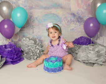 Lavender Petti Lace Ruffle Romper, newborn photography prop, Cake smash, birthday party