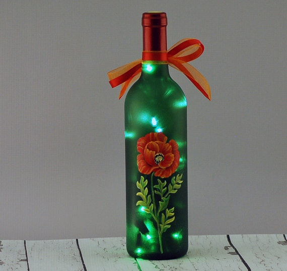 Red poppy wine bottle lamp hand painted