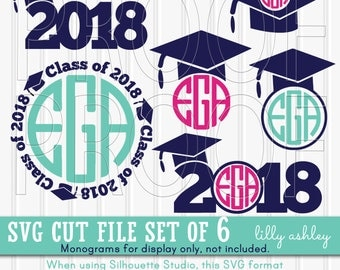 Monogram SVG Files Graduation Cut File Set includes 6 cutting files {SVG/JPG/png} Commercial use 2018 svg graduation {monogram not included}
