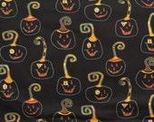 SALE One Yard Cheeky Wee Pumpkins / Black - Studio E Fabrics / Halloween Fabric / Primitive Pumpkins / Jack o' Lanterns