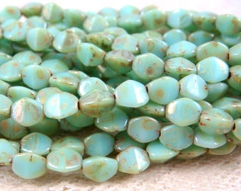 Czech Beads, Czech Glass Beads - Mint Green Luster Picasso (P/N-004) - 5mm Pinch Beads - Qty. 30
