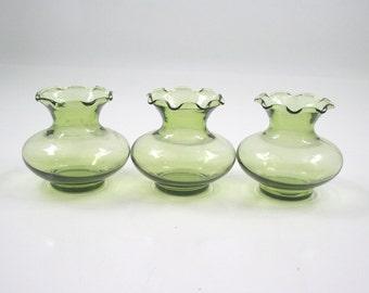 Green Glass Vase Trio