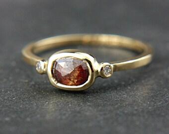Natural Rose Cut Diamond Gold Ring 14k Yellow Gold Natural Diamond Gold Ring Size 6-6,5 Rose Cut Diamond Engagement Ring