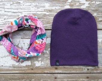 Snap Drool Bib Scarf and Beanie Set Scarf and Hat Set Baby Scarf Bib Toddler Scarf Drool Bib Childrens Scarf and Hat Set Pink and Purple