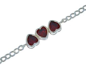 3 Ct Garnet Heart Bezel Bracelet .925 Sterling Silver