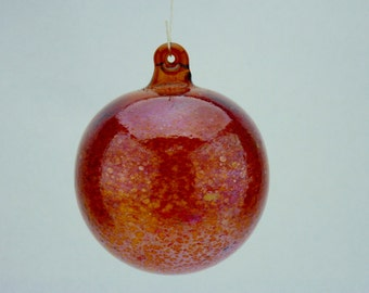 Fumed Handblown Amber Glass Ornament with Dragons Blood Red Speckles