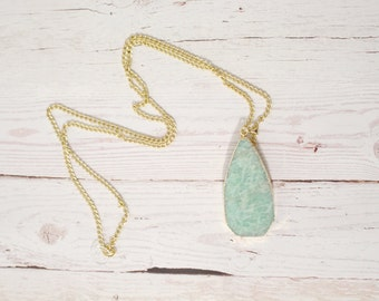 The Amazonite Pendant - Mint/Aqua Tear Drop Shaped - Authentic Premium Stone Pendant Necklace