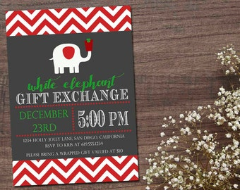 items similar to white elephant, christmas holiday gift exchange, Party invitations