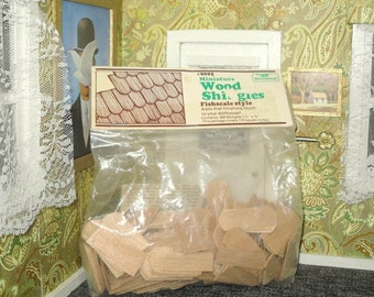 Miniature dollhouse fishscale style wood shingles