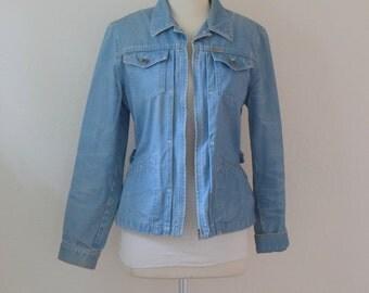 Light Blue Denim / Chambray  'Lauren R. L.' Safari Jacket / Anorak - Women's Small to Medium