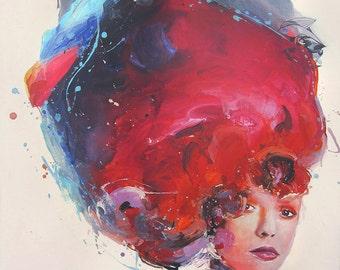 "Woman modern painting. Abstract Art 24"" x 32"". Original Painting on Canvas, Figure painting, Handmade Original Art. Home Wall Decor."