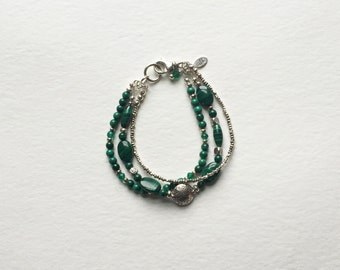 Malachite and Hill Tribe Sterling Silver Bracelet