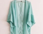 Chiffon Swimsuit Cover up Mint Oversized Caftan Beach Resort Solid Sheer