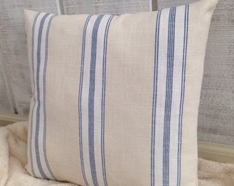 Blue French ticking pillow cover Sale / French country, French laundry, cottage, country, farmhouse, rustic