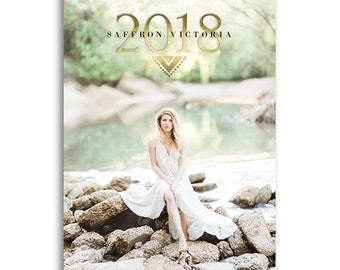 Senior Graduation Announcement Template - High School Senior Graduation Card Photoshop Template for Photographers - SAFFRON - 1509