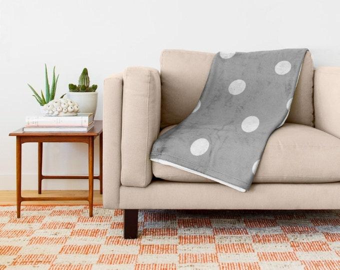 Grey Fleece Throw Blanket - Bedding - Polka Dot Throw Blanket - Soft Fleece Blanket - Made to Order