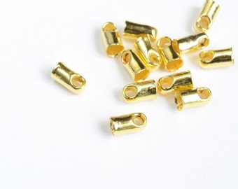 Gold Cord Ends, End Caps, 6 mm x 4 mm - 20 pieces (MB103-G)