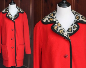 Vintage Red Leopard Print Penguin Wool Coat Size 8/ Ladies' Mod 1960s Candy Apple Red Wool Faux Fur Lined/ Women's Coat Jacket