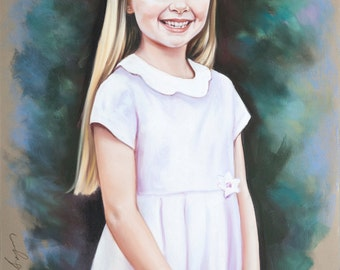 Large size , 3/4 length Pastel portrait of a young girl.