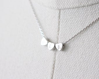 Tiny Initial Heart necklace // Silver Initial Heart Necklace // personalized necklace