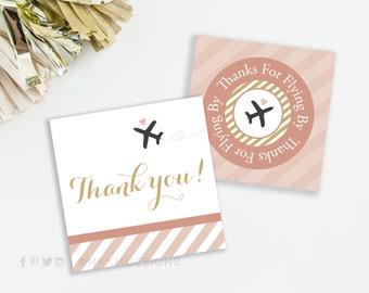 Bridal Shower Favor Tags, Travel Bridal Shower, Travel Baby Shower, Bridal Thanks, Airplane Favor Tag, INSTANT DOWNLOAD, Blush and Gold, #31