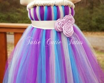 Purple, Turquoise and Ivory Flower Girl Tutu Dress with Rose Sash