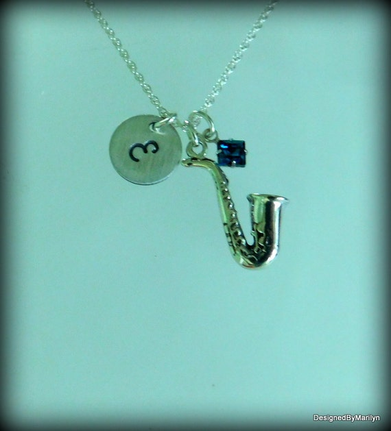 Sterling silver saxophone necklace, musician necklace, personalized music necklace, music instructor, music student